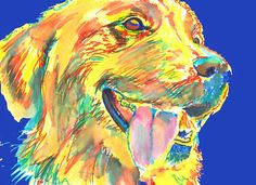 Golden Retriever Painting fine art print signed Gorgeous Yellow blue Retriever gift 21.0 x 29.7cm,   8.27 x 11.69 inches print from original