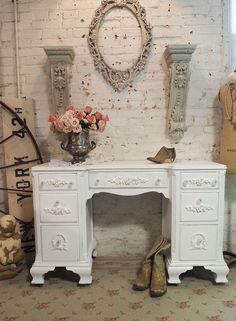Painted Cottage Chic Shabby White Romantic Desk by paintedcottages, $395.00