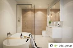 Can't believe this is a render! Designed by DDC Group, this bathroom looks so amazing. Open shower with just the right amount of timber via the feature wall and Rifco Acqua vanity.