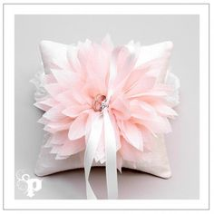 Ivory & Pink Floral Ring Pillow available at How Divine ~ https://www.howdivine.com.au/store/product/ivory-pink-chiffon-flower-ring-pillow
