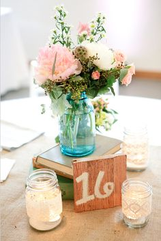 1000 images about blue mason jars wedding on pinterest for Angela florist decoration