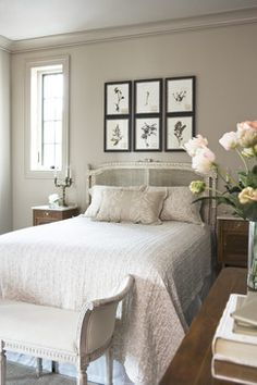 Quietude: trim and walks painted the same neutral warm grey color with light fabrics.  (Sherwin Williams 'Anew Grey')