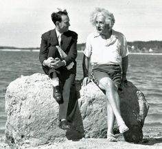 Einstein on the beach with the American physicist Milton A. Rothman in 1939