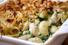 Creamy chicken & basil macaroni cheese