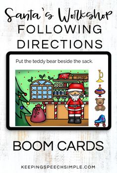 Engage students with these Santa's workshop themed following directions task cards that target spatial concepts, location concepts, Christmas vocabulary and comparative concepts. Use these language activities with your preschool, kindergarten and elementary students during distance learning sessions and with teletherapy. These language activities are appopriate for speech therapy, preschool and special education. Add this digital, no prep resource to your holiday resource library!