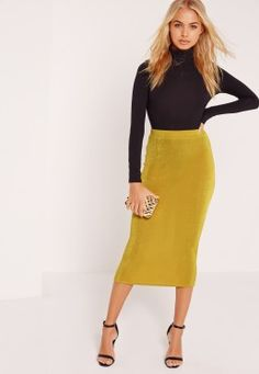 Textured Slinky Midi Skirt Chartreuse Green Winter Skirt, Latest Fashion For Women, Womens Fashion, Misguided Fashion, Fashion Clothes Online, Midi Skirt, Missguided, Texture, Green