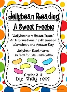 Easter Freebie!  Jellybean Reading - Informational Text and Sweet Bookmarks - Perfect for Grades 4-6!  My students will love this!