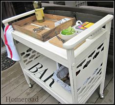 Repurposed side table could be great for the Cricket and Silouette!