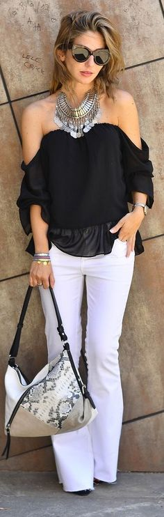 Black Off The Shoulder Top #Fashionistas