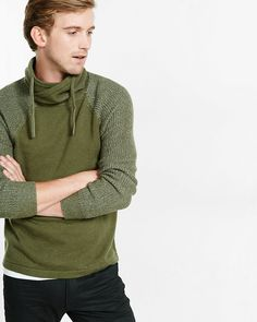 crossover funnel neck shaker knit sleeve sweater