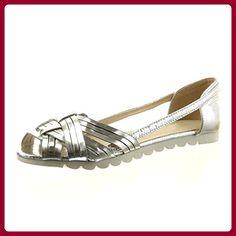 Sopily - damen Mode Schuhe Sandalen Offen String Tanga Patent - Silber CAT-9-RS110 T 37 - Sandalen für frauen (*Partner-Link)