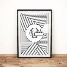 Typography Print  Letter Print G  Initial by FactoryTwentyOne