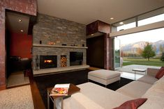 Fireplace Tv Wall, Passive Design, Gate House, Home Trends, Commercial Design, Concrete Floors, Cladding, Home Kitchens, New Homes
