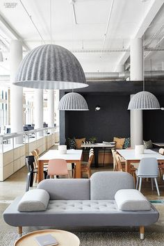Muuto Under the Bell pendant lights are made from recycled plastic felt, which helps absorb noise and improve acoustics—a key feature in the open office. Photo 6 of 15 in 14 Creative Ways to Design With Felt from Space to Work, Room to Play Interior Design Magazine, Office Interior Design, Office Interiors, Home Interior, Office Designs, Office Furniture Design, Furniture Buyers, Furniture Market, Luxury Furniture
