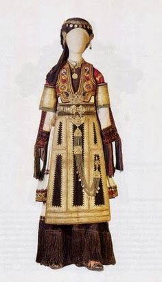 Costume of Karagouna. Festive and bridal costume worn by variations in the villages of the plain of Thessaly. Greek Traditional Dress, Traditional Fashion, Traditional Outfits, Costume Tribal, Folk Costume, Historical Costume, Historical Clothing, Folk Clothing, Ethnic Dress