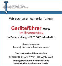 Stellenbezeichnung:  Geräteführer m/w im Brunnenbau    Arbeitsort:  Stuckmann GmbH Brunnenbau    59457, Werl    Nordrhein-Westfalen  Deutschland    Weitere Informationen und Stellenangebote unter #stellencompass #Arbeit und:  https://www.stellencompass.de/anzeige/43669/