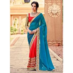 Designer Georgette Embroidered Party Wear Sea Blue & Red Saree - 15260 ( ML - 885-Sparsh )