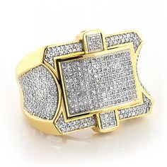 This Large Mens Diamond Ring in 14K gold showcases 1.89 carats of genuine diamonds. Featuring a unique design and a highly polished gold finish, this men's diamond ring is available in 14K white, yellow and rose gold.