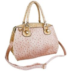 Would buy it if it were leather  MARISSA Pink / Cream Chic Ostrich-embossed Office Tote Top Double Handle Doctor Style Handbag Satchel Purse Shoulder Bag