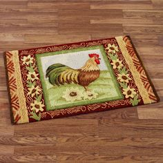 Statuette Of Rooster Kitchen Rugs Creating A Country Kitchen Nuance