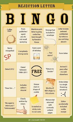 Rejection Letter Bingo - Writers Write Creative Blog