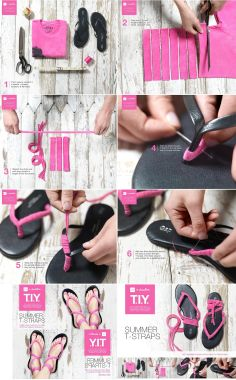 """MATERIALS  - flip flops - colorful Tshirt - a needle & thread - scissors    INSTRUCTIONS  2. Fold your T in half lengthwise & cut six strips, about 1"""" wide  3...."""