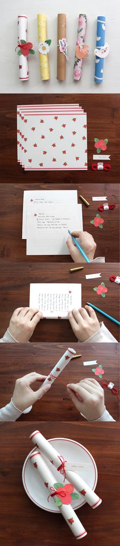 Spread some love to those around you with this adorable Rolled Up Letter Set! Complete with decorative papers, gift tags, and a ring or string, this stationery set has everything you need to write a personalized note to a loved one! ^.~*