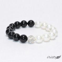 $10 Black and White Pearl Beads with Rhinestone Ball