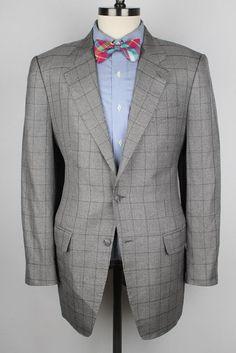 BESPOKE Q Custom Clothier Grey Silver Plaid DORMEUIL CLOTH 42 R Sport Coat #QCustomClothier #TwoButton