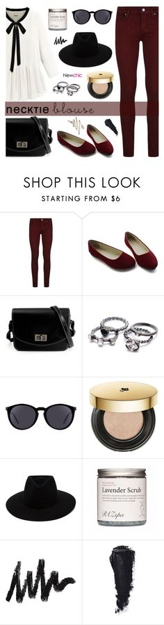 Fall Trend: Necktie Blouse by dora04 on Polyvore featuring Paige Denim, rag & bone, Yves Saint Laurent, Lancôme, Anastasia Beverly Hills and falltrend
