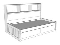S100: Twin Captain's Bed - Crate Style with Long Bookcase - Bunk & Loft…