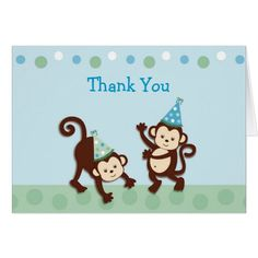 Party Monkey Birthday Thank You Note Cards
