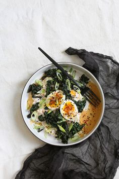 Overnight Oats with Soft-Cooked Egg and Miso-Braised Kale by balancingact #Breakfast #Savory #Healthy