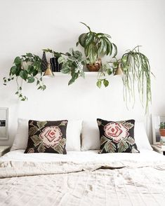 14 Fabulous Rustic Chic Bedroom Design and Decor Ideas to Make Your Space Special - The Trending House Shelf Over Bed, Bed Shelves, Plant Shelves, Shelving Above Bed, Home Bedroom, Bedroom Wall, Bedroom Decor, Wall Decor, Bedrooms