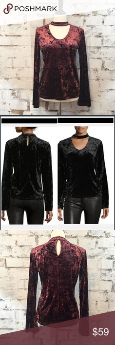 """Sanctuary Velvet """"Daisy"""" top in Zinfandel This top is gorgeous!!! Velvet is one of the top trends for this fall/winter and I couldn't be more excited! V-neck, choker neckline, button-keyhole back, long sleeves & straight hem. The Zinfandel is a stunning color and perfect for the season! True to size. Approximate measurements are as follows: Bust: 34"""" - Length: 22.5"""" - Sleeves: 25"""" - Waist: 27"""" Sanctuary Tops"""