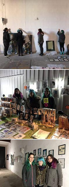 """Exposición de Paula Arránz (Srta Do), Blanca Lemus (Blanc Lemur) y Vanesa Izquierdo. 23·12·2016. En """"La Fábrica"""" (espacio cowork de Ciudad Real)"""