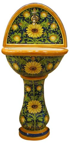 Outdoor Ceramic Wall Fountains Hand painted buy Online   Leoncini Italy Hand Painted Pottery, Pottery Painting, Hand Painted Ceramics, Ceramic Painting, Wall Fountains, Italian Pottery, Ceramic Table, Zen, Italy