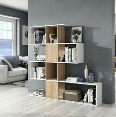 The modern large Zig Zag bookcase in a high quality white and oak effect finish This stylish bookcase features 10 spacious compartments providing Timber Furniture, Hallway Furniture, Lounge Furniture, Step Bookcase, Black Bookcase, Corner Shelf Unit, Modern Shelving, Quality Furniture, Display Shelves
