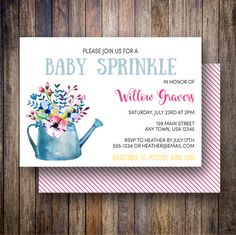 Spotted Gum Design | Watercolor Floral Baby Sprinkle Invitation, Watering Can Baby Sprinkle Invite - Flowering Watering Can in Blue, Magenta, Yellow #etsy #spottedgumdesign #inglishdigidesign