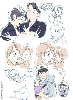 Baekhyun Fanart, Kpop Fanart, Sehun, Nightmare Before Christmas Wallpaper, Exo Couple, Exo Fan Art, Drawing Reference, Cute Art, Art Inspo