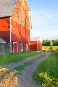 Barns At Sunset - makes me think of Wisconsin