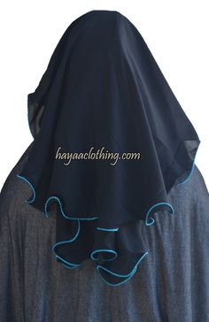 Hayaa Clothing - 3 Layers Fluttery Butterfly Black Saudi Niqab - Teal Trim, $16.99 (http://www.hayaaclothing.com/3-layers-fluttery-butterfly-black-saudi-niqab-teal-trim/)