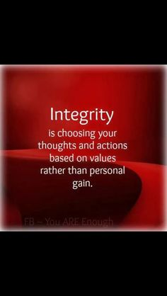 Integrity is...