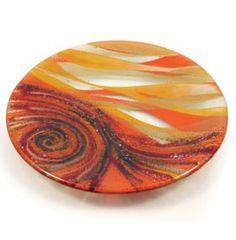 Orange Small Round Glass Dish