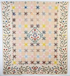 Stella Rubin: Original Pattern Appliqued and Pieced Quilt Dated 1846.
