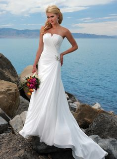 A-line V-neck Chapel train Chiffon White Wedding Dresses #USRS033