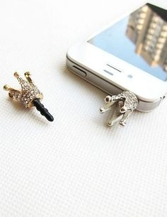 Show off your inner royalty with this crown headphone jack charm.