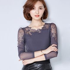 Cheap lace blouse, Buy Quality long sleeves women blouse directly from China chiffon shirt Suppliers:                                                                                    EUR Size