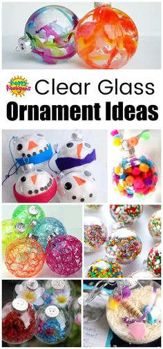 Fun and Creative ways to decorate a clear glass or plastic ornament. Great Christmas Craft ideas here for kids of all ages. #HappyHooligans #Ornaments #HomemadeOrnaments #ChristmasCraftsForKids #PreschoolChristmasCrafts #ToddlerChristmasCrafts #GlassOrnaments #PlasticOrnaments #ClearOrnaments