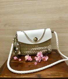 Borsa fatta a mano uncinetto handmade borsa da donna estiva fettuccia ecopelle tracolla  moda stile